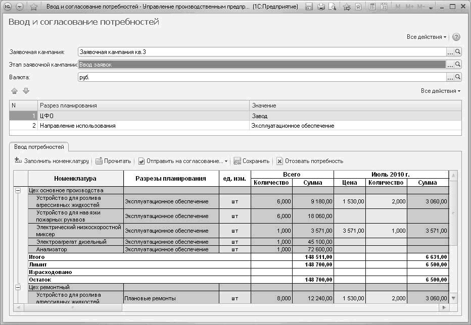Этапы МТО, соответствующие документы и их статусы в «1С:МТО».